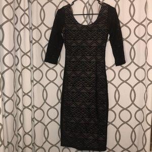 Black/Nude Tribal Print Dress